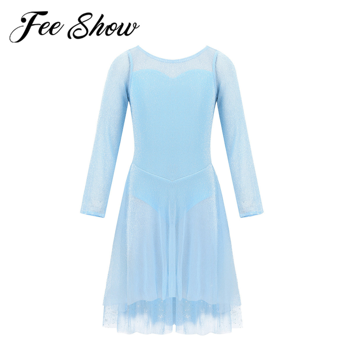 Kids Girls Gymnastics Leotard Ballet Dance Tutu Dress Ice Blue Princess Dancewear Shiny Tulle Skirt Ballerina Lyrical Costume
