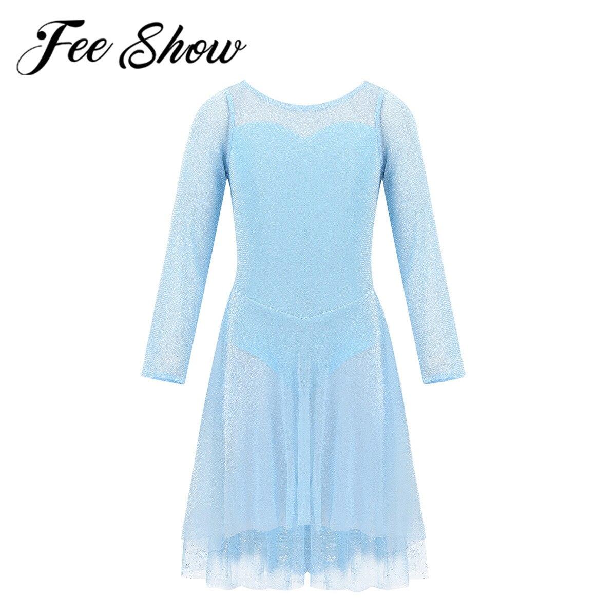 Kids Girls Gymnastics Leotard Ballet Dance Tutu Dress Ice Blue Princess Dancewear Shiny Tulle Skirt Ballerina Lyrical Costume
