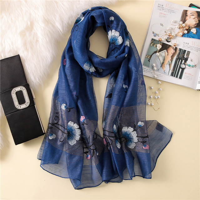New silk wool scarf women fashion floral embroidery shawl wrap high quality pashmina winter neck scarf bandana face mask hijab