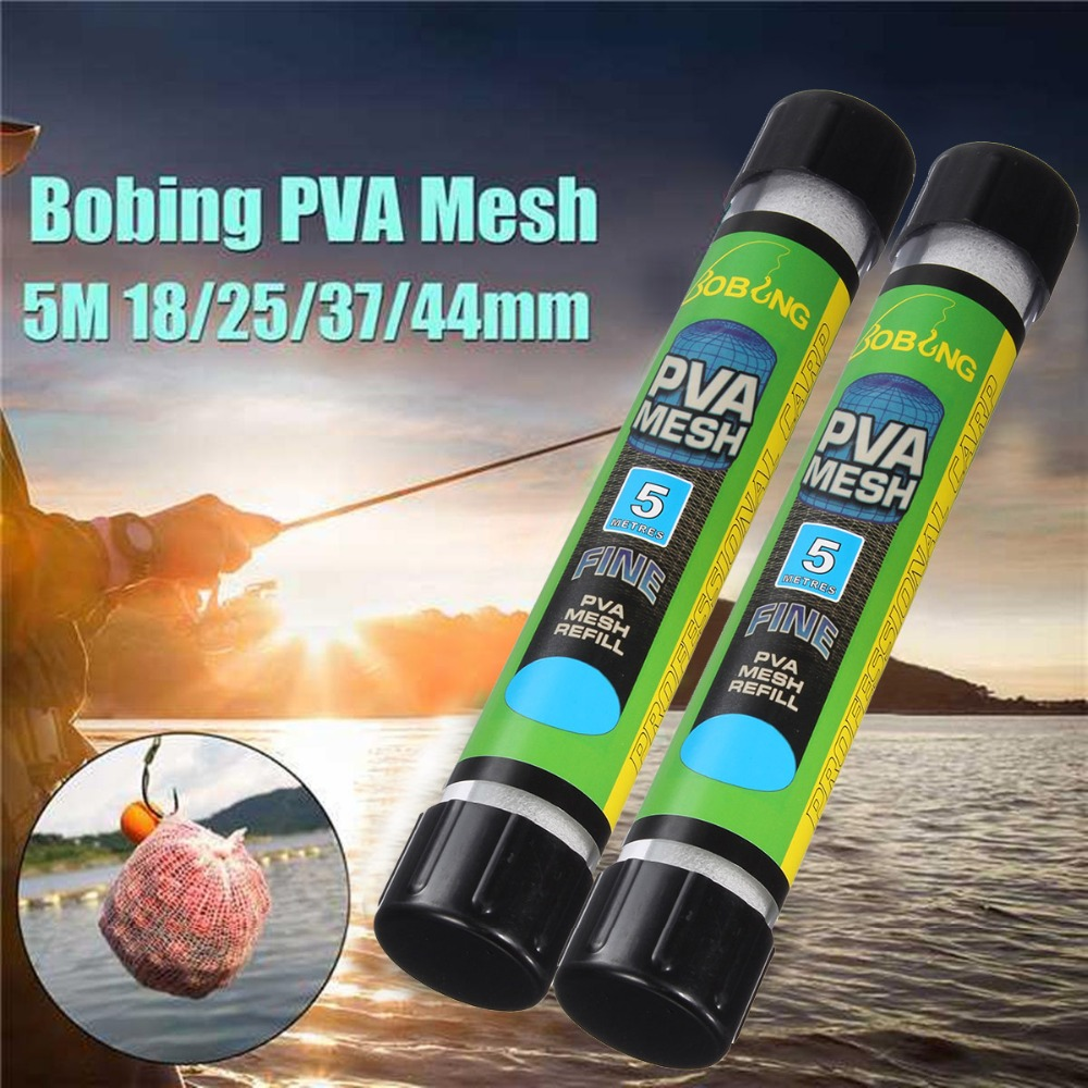 1PCS 5M Water Dissolving PVA Narrow Mesh Tube Net Carp Fishing Feeder Lures Refill Plunger Bar Tackle Carp Fishing Feeder