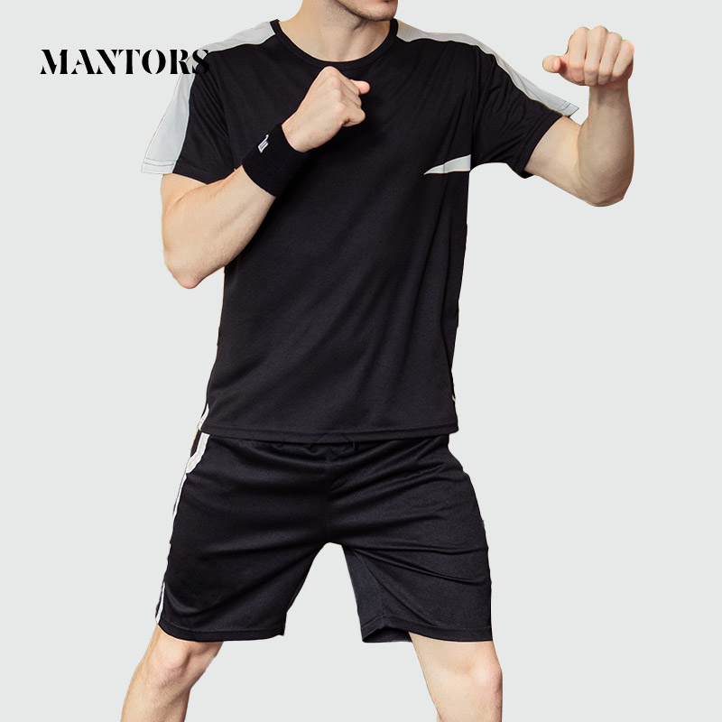 2020 Men Casual Tracksuit New Brand Summer Male Solid Sets Tops Tees + Shorts Two Pieces Clothing Men's Sportswear Loose Suits