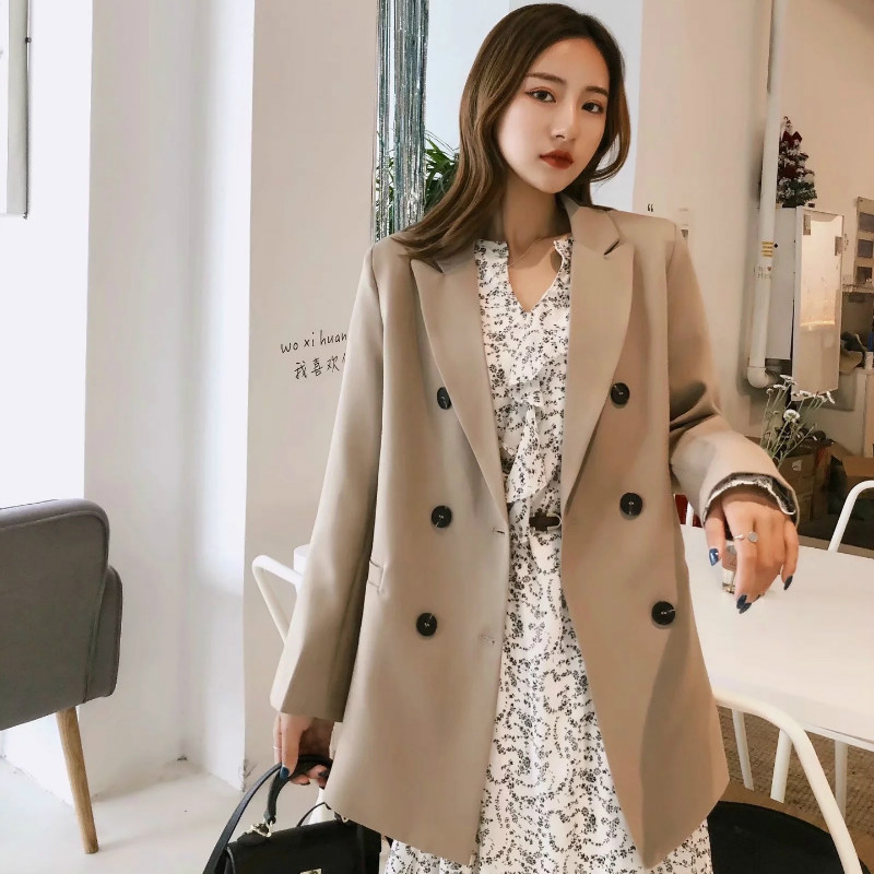 Temperament solid color women's jacket suit 2019 autumn double-breasted loose mid-length ladies blazer Office suit female