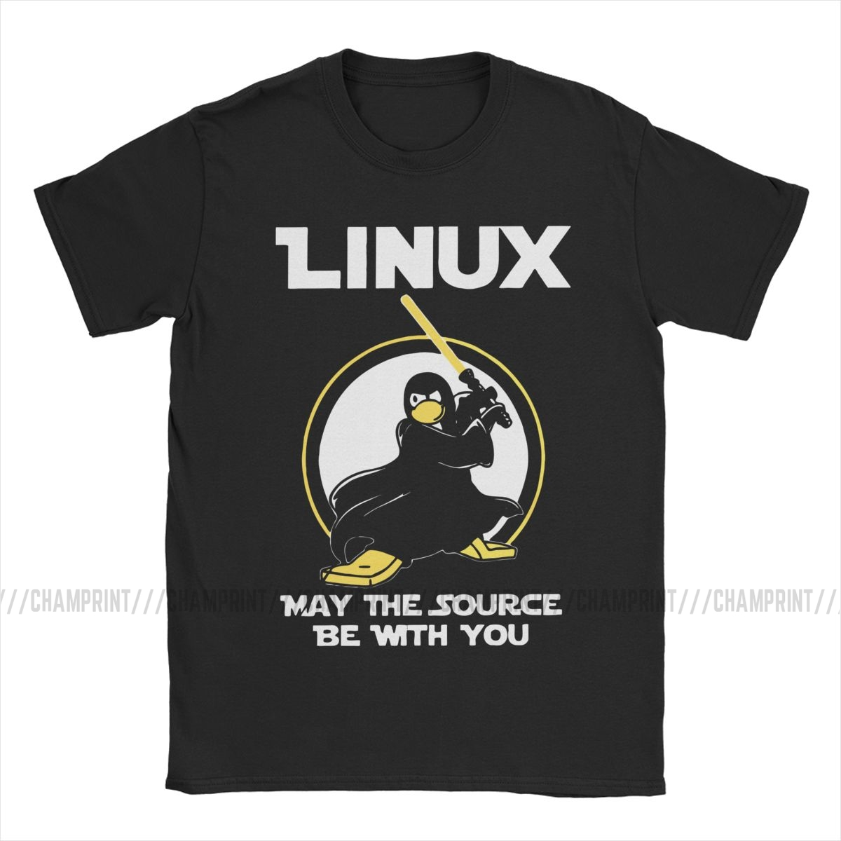 Linux May The Source Be With You T-Shirt Men Penguin Programmer Developer Programming Coding Nerd Vintage Tee Crew Neck T Shirts