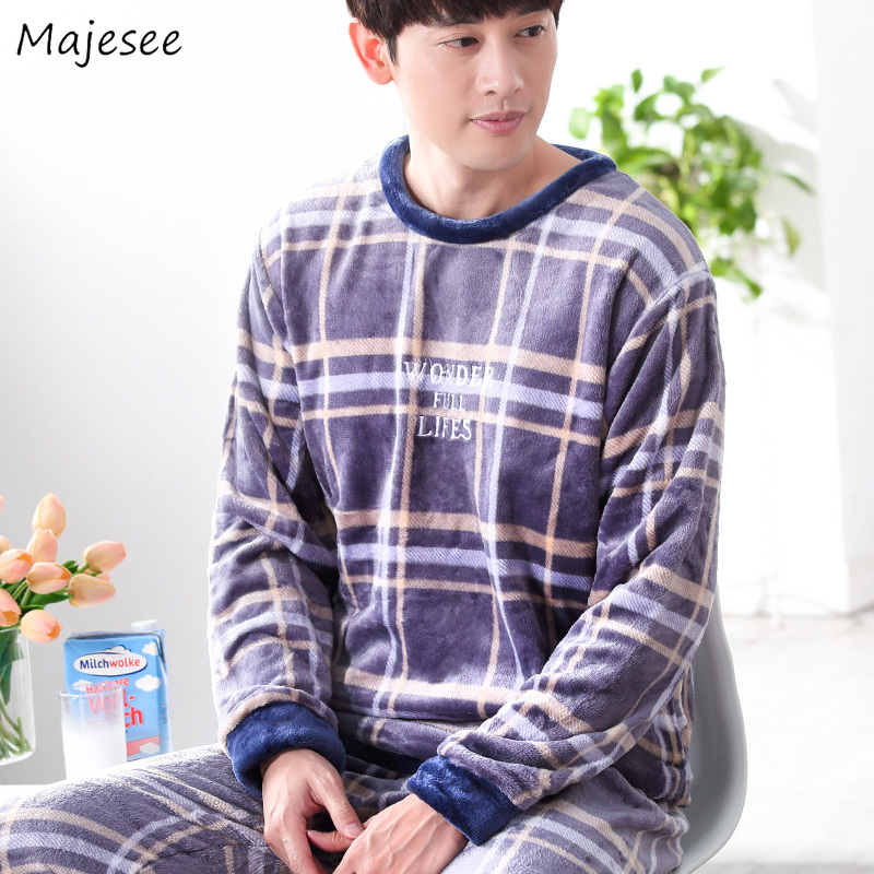 Pajama Sets Men Autumn Winter New Fashion Flannel Pajamas Mens Thicker Home Clothing Long Sleeve Males Casual High Quality Warm