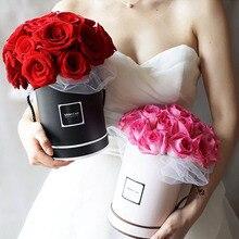 Ручной букет Цветочные коробки модные круглые живые вазы флорист коробка Цветочные коробки