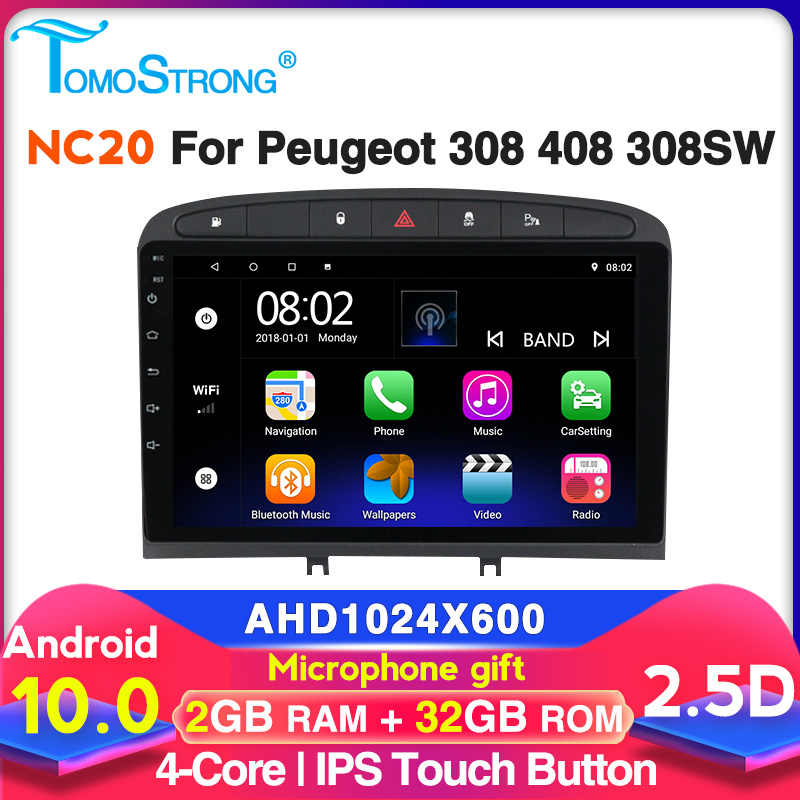 TOMOSTRONG Android 9 araba radyo multimedya oynatıcı GPS 2010-2016 ile PEUGEOT 308 408 için radyo Bluetooth carplay