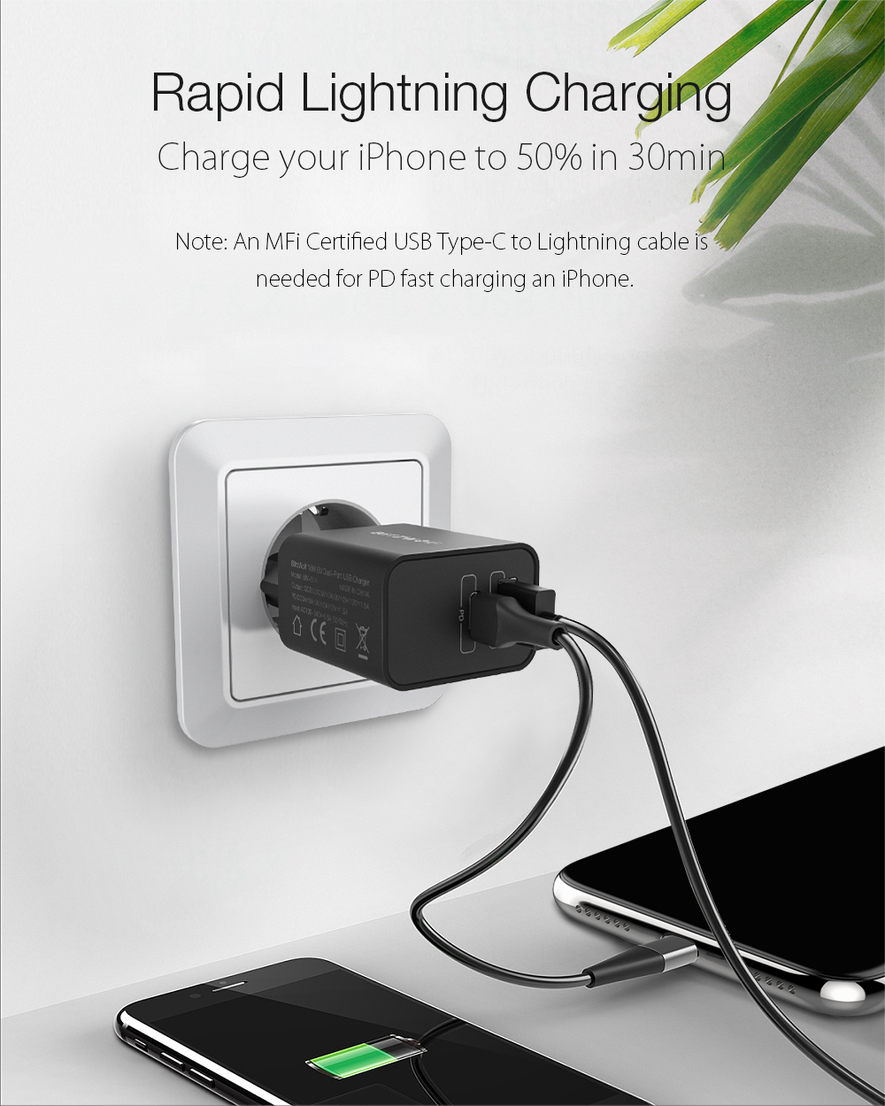 BlitzWolf 18W Type-C PD3.0 USB QC3.0 Fast Charging Wall USB Charger for iPhone 11 Pro XR for Huawei P30 for Samsung for Xiaomi