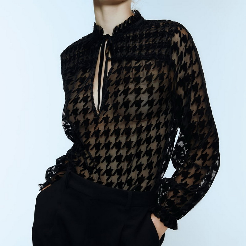 Sex Women Transparent Blouse Shirt Autumn 2019 New Fashion Houndstooth Flocking Mesh See Through Tops Modern Lady Black Blouses