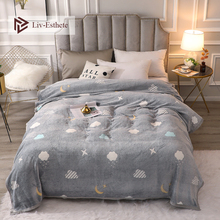 Liv-Esthete Gray Blanket Super Soft Flannel Aircraft Sofa Active Printing Throw Portable Car Travel Cover Warm