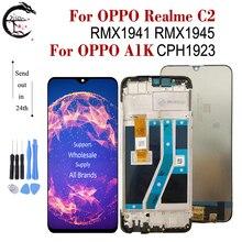 """6.1 """"LCD için çerçeve ile OPPO Realme için C2 RMX1941 RMX1945 A1k CPH1923 LCD tam ekran ekran dokunmatik sensör sayısallaştırıcı montaj AAAAA"""