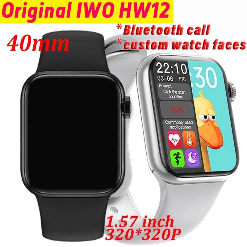 Оригинальные Смарт-часы iwo HW12 для мужчин и женщин, 40 мм, 1,57 дюйма, 320*320, сенсорный экран, измерение кровяного давления, Bluetooth, Смарт-часы pk w56