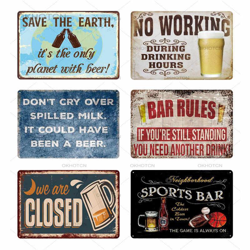 Alcohol de advertencia Cerveza Retro Letrero De Metal Cueva de hombre Bar Pub Fiesta Vintage Regalo Placa