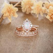 3Pcs/Set Oval Fire White Opal Rose Gold Rings for Bride Wedding Rings Set Engagement Ring Anniversary Birthstone Jewelry Gifts new arrival fashion 2 pcs set rose gold rings set white crystal oval ring for women anniversary engagement ring jewelry gifts
