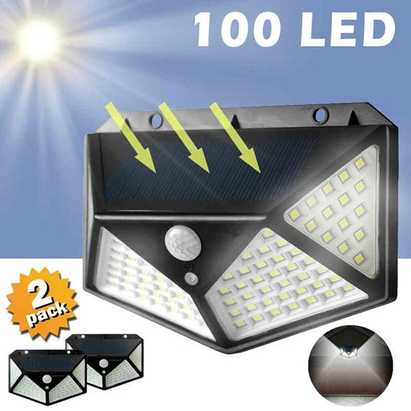 DIDIHOU 100 LED Four-Sided Solar Power Light 3 Modes 270 Degree Angle Motion Sensor Wall Lamp Waterproof Yard Garden Lamps