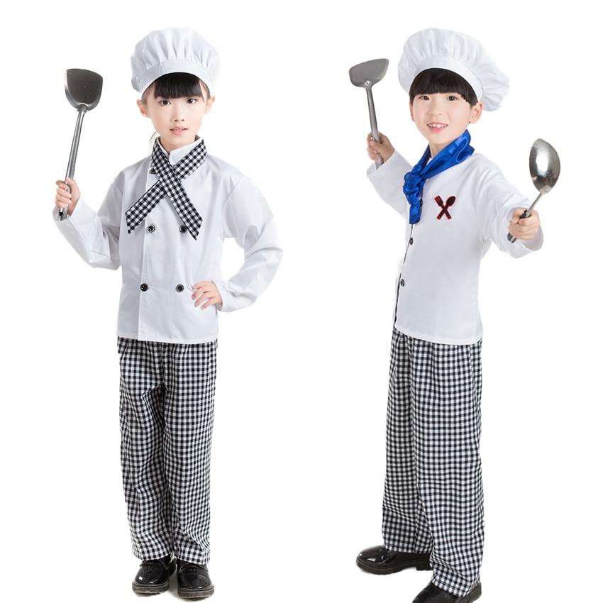 ליל כל הקדושים קרנבל המפלגה ללבוש ילדים שף אחיד קוספליי תחפושות לבשל מעיל ילדים של יום לשחק ביגוד לבנים