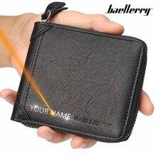 2020 Men Wallets Name Engraving Zipper Short PU Leather Card Holder High Quality Male Purse Coin Holder Men Wallet Carteria