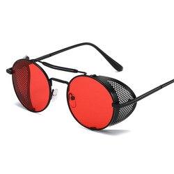 Steampunk óculos de sol das senhoras redondos vintage metal óculos de sol homens marca design steampunk uv400 gafas de sol