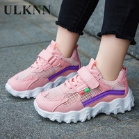 ULKNN Kids Sneakers 2020 New Girls Pink Mesh Sports Shoes Children's Shoe Breathable Soft-soled Casual Summer Autumn Boys Baby