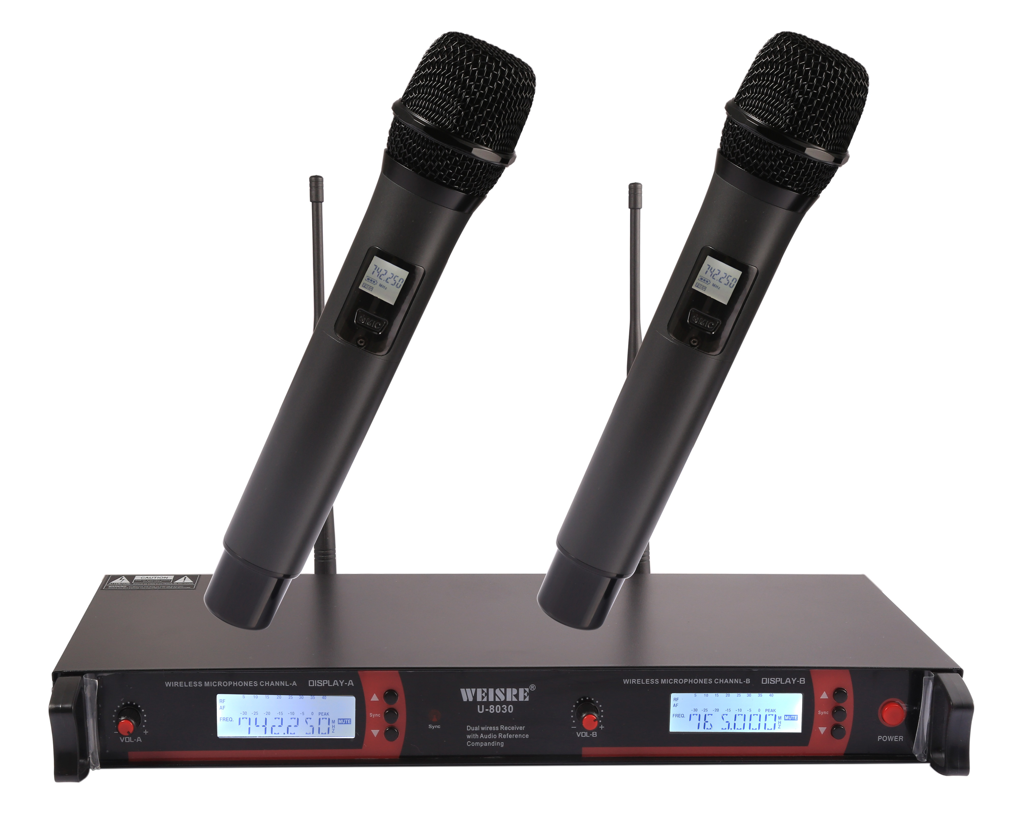 WEISRE Professional UHF Wireless Microphone System Frequency Adjustment with 2 Handheld Microphones Karaoke Radio Mic