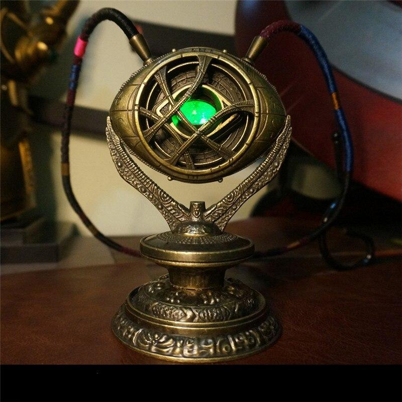 Doutor estranho colar de cristal olho de agamotto pingente o vingador infinito guerra colar com base adereços cosplay com luz