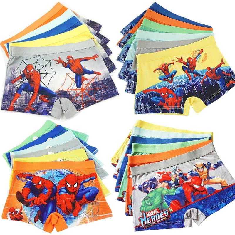 4pcs/lot Boys Underwear Hero Spiderman Cartoon Marvel Comic Boxers Underpants Baby Kids Panties Panty Infant Teenagers Briefs