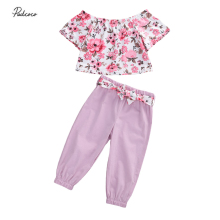 3Pcs Children Outfit Infant Kids Girls Short Sleeve Off-the-shoulder Floral Top Solid Color Ankle-Tied Pants and Waistband Set girls off shoulder flounce sleeve striped top
