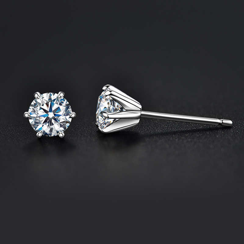 BOEYCJR 925 gümüş 0.5/1ct F renk Moissanite VVS güzel takı elmas düğme küpe ile ulusal sertifika kadınlar için hediye