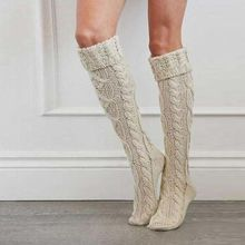 Womens Chunky Braided Cable Knit Long  Solid Color Roll Down Cuffed Over Knee High Stockings Casual Stretch Winter Warmer