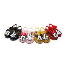 Disney bebê menina sapatos mini melissa geléia sapatos da criança mickey minnie meninas sandálias pvc antiderrapante desenhos animados sandalias bebê