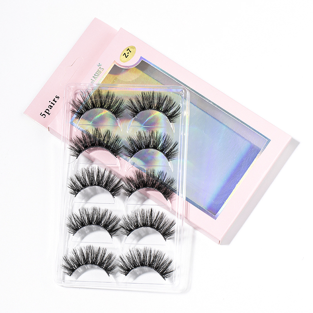 2020 New 15-25mm 3D Faux Mink Hair Cross False Eyelashes 5 Pairs Long Eye Lashes Handmade Thick Makeup Beauty Extension Tools 5