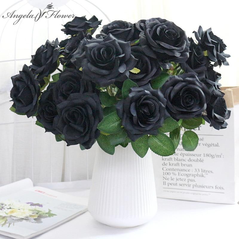 46 CM 7 Köpfe Schwarz Rose Bouquet Künstliche Blumen Braut Hand Halten Blume Seide Hause Dekoration Tisch Hochzeit Partei Liefert DIY