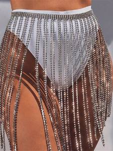 Diamante Skirt Festival Rhinestone Shiny Music Metal Tassel Chic Patchwork Hollow-Out