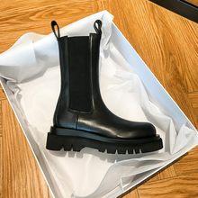Bottines Chelsea de luxe pour femmes, chaussures d'hiver à plateforme, talon épais, chaussures de marque de styliste, nouvelle collection