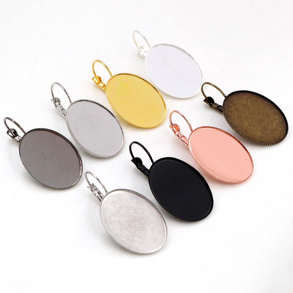 18x25mm 13x18mm 10x14mm 10pcs/Lot Classic 9 Colors Plated French Lever Back Earrings Blank/Base,Fit Oval Cabochons Earrings