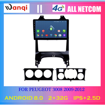 4G Lte All Netcom Android 8.0 2.5D full touch Screen 9 inch Car GPS Navigation Multimedia For peugeot 3008 2009-2012 image