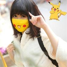 Unisex Anime Pokemon Pikachu maski Cosplay Cartoon kobiety dziewczęta uśmiech Kawaii bawełna maska Cartoon Funny Patten maska przeciwsłoneczna
