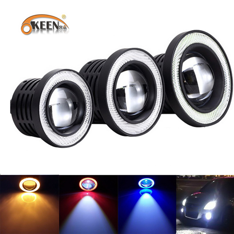 2pcs Car COB 1200LM 30W Light LED Fog Light White Angel Eye DRL Driving Projector Signal Bulbs Fog Lamps Auto Tuning Car Lamp