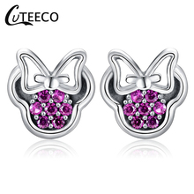 CUTEECO Dropshipping Fashion Silver Color Bow Stud Earrings Purple Sparkling Brand For Women Jewelry