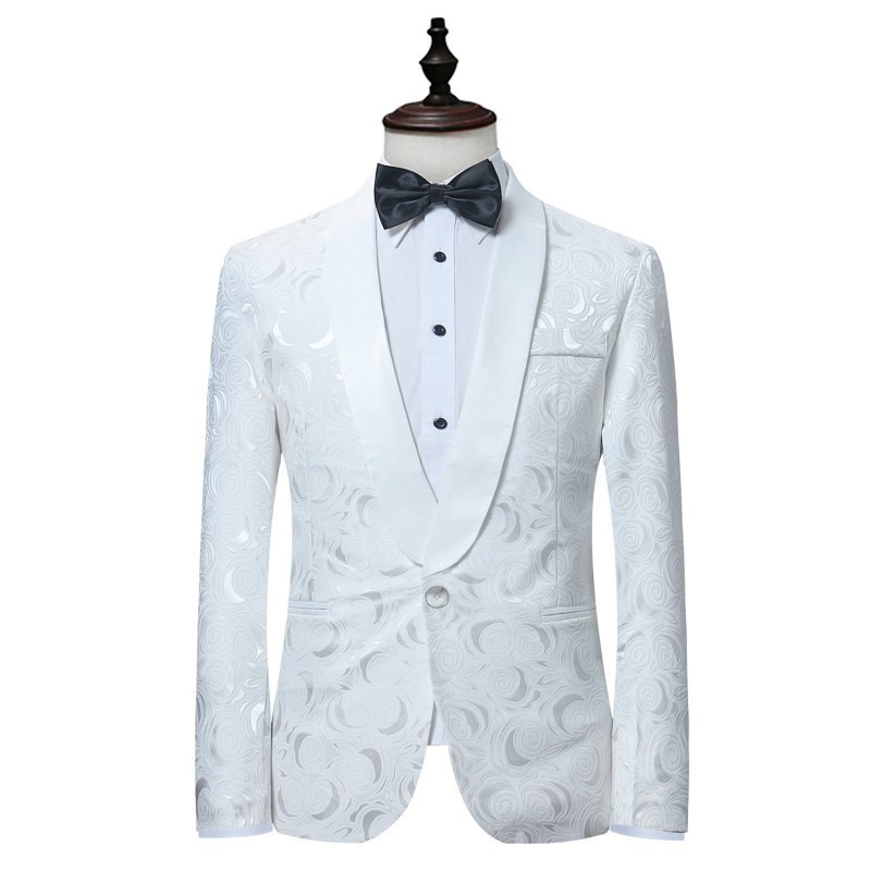 Luxury Men Casual Suit Set White Single Button Slim Fit Traje British Style Wedding Suits Groom Tuxedos Costume Homme Mariage