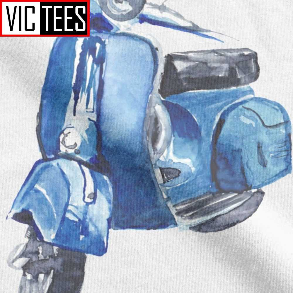 الأزرق فيسبا تي شيرت سكوتر إيطاليا إيطاليا فريد الرجعية دراجة نارية دراجة الرجال تي شيرت رجل بالجملة تي شيرت كامل