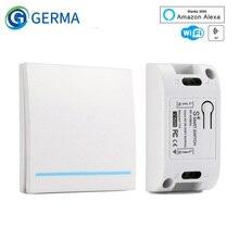 GERMA RF Wifi Sóng RF 433MHz 10A/2200W Không Dây Công Tắc 86 Loại Trên Tắt/Mở Bảng Điều Khiển RF 433MHz WiFi Điều Khiển Từ Xa Thiết Bị Phát