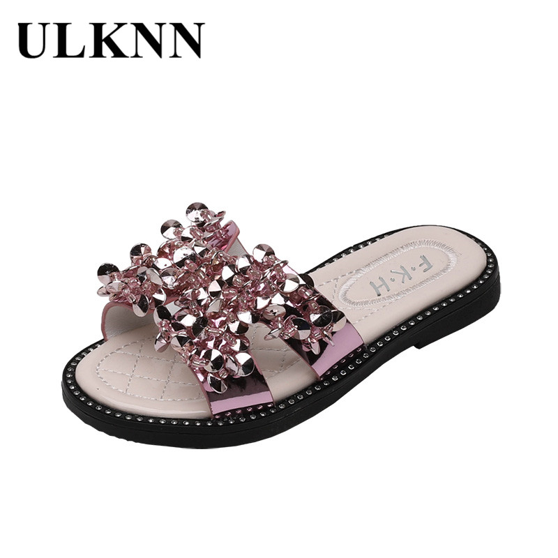 ULKNN Wholesale 2020  Summer Kid's Shoes INS Celebrity Princess Shoes Man-made Diamond Girls Slippers Casual Fashion Sandals
