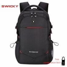 SWICKY 男性多機能 USB 充電ファッションビジネスカジュアル観光盗難防止防水 15.6 インチのラップトップバックパック