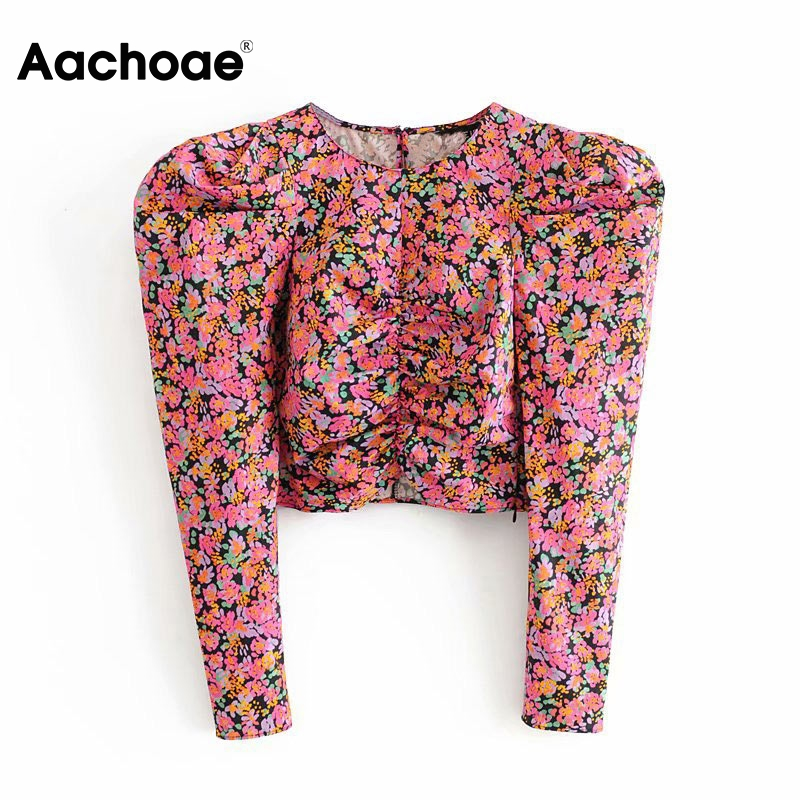 Aachoae Women Retro Rose Print Crop Blouse Vintage Streetwear Puff Long Sleeve Tops O-neck Ladies Casual Shirt Blusas Femininas