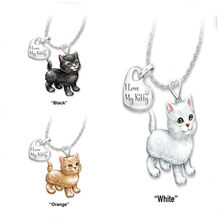 "1 PC New Necklace Cat Animal Message "" I Love My Kitty "" Pendant Silver Color White Necklace Cute Jewelry Gift 45cm long(China)"