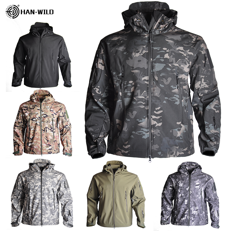 Wandern Jacken Shark Haut Soft Shell Kleidung Taktische Jacke Herren Windbreaker Flug Pilot Haube Military Fleece Feld Jacke
