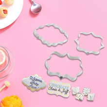 3pcs/Set Blessing Frame Cookie Cutter Pastry Tools Fondant Mold Stainless Steel Cake Mold Decorating Tools Baking Accessories