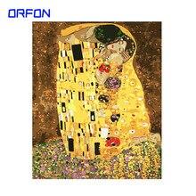 ORFON Rahmen Gustav Klimt Der Kuss Malerei Durch Zahlen Kombination Einzigartiges Geschenk Wand Kunst Bild Kunstwerke Home Decor40x50cm
