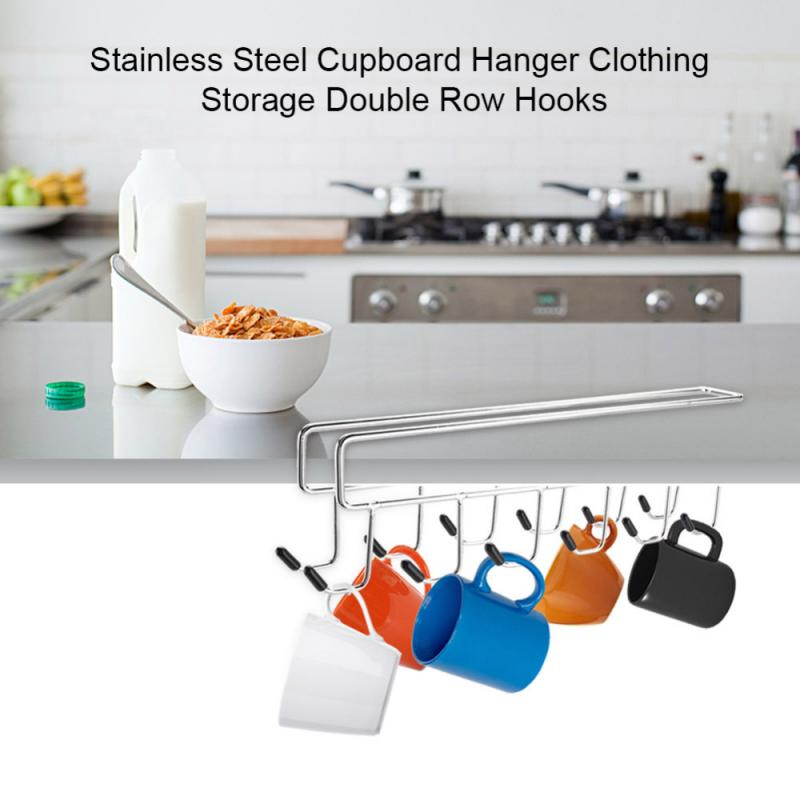 Stainless Steel Hanging Hooks Kitchen Cabinet Storage Rack Fabric Cupboard Cupboard Cooker Dish Storage Holder Shelf Organizer
