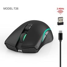 Ratón inalámbrico recargable T26 de 2,4G, Mouse inalámbrico para videojuegos de siete botones, con luz brillante TYPE C de carga rápida